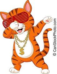 oro, divertido, dabbing, gato, collar, caricatura, sombrero...