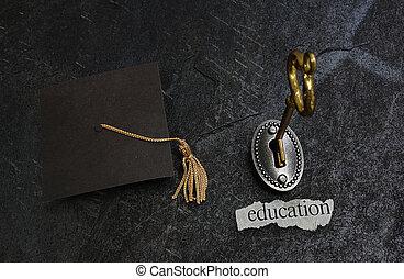oro, educación, llave