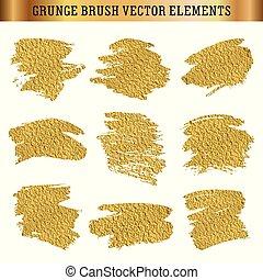 oro, elementi, struttura, mano, disegnato, spazzola, set, grunge