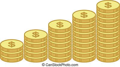 oro, empresa / negocio, gráfico, -, moneda, pilas