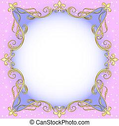 oro, (en), luce, ornamento, fondo, stelle