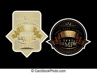 oro, etiqueta, negro, cinta blanca, vino