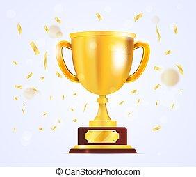 oro, etiqueta, premio, blanco, trofeo