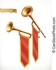 oro, fanfare., vector, trumpet., icono, 3d