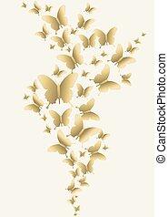 oro, farfalla, tempo primaverile, disegno
