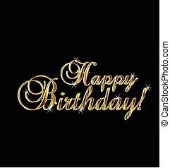 oro, feliz, palabras, cumpleaños
