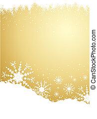 oro, fiocco di neve, fondo
