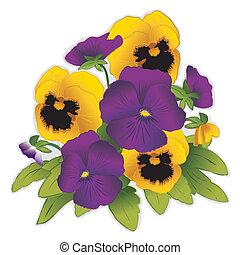 oro, flores púrpuras, pensamiento