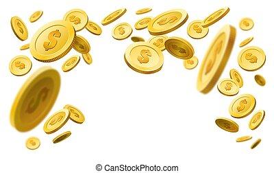 oro, flotar, coins, marco, panorama
