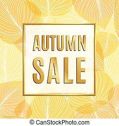 oro, foglie, vendita, autunno, bandiera, cornice
