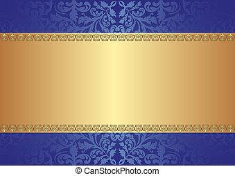 oro, fondo azul