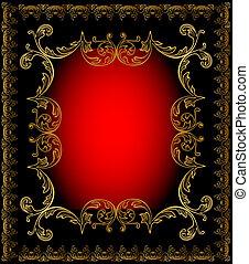 oro, fondo, cornice, rosso, ornamento