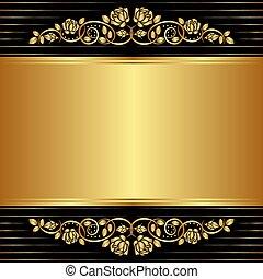 oro, fondo negro, con, floral, ornamentos
