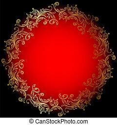 oro, fondo, rosso, rotondo, ornamento