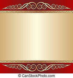 oro, fondo, rosso