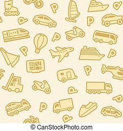 oro, fondo, seamless, trasporto, icone