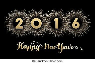 oro, fuego artificial, año, nuevo, 2016, bandera