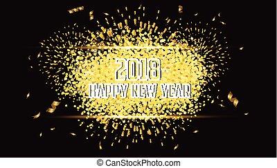 oro, fuegos artificiales, 2018, plano de fondo, año, nuevo, feliz