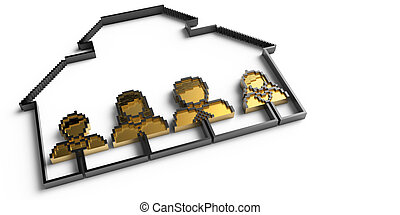 oro, gente, familia , iconos