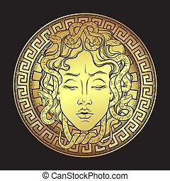 oro, gorgon, mano, disegno, medusa, disegnato