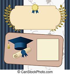 oro, graduación, invitación, vendimia, certificado