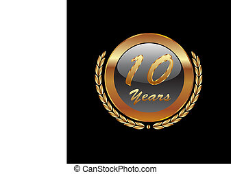 oro, guirnalda laurel, 10years