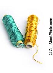 oro, hilo, metálico, carrete, verde, rayón, línea