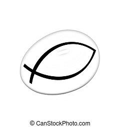 oro, huevo, con, un, símbolo, de, cristianismo,...