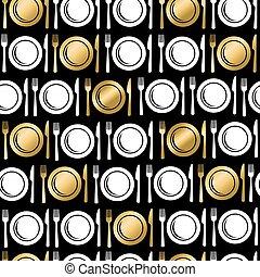 oro, iconos, alimento, utensilio, seamless, patrón