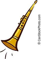oro, ilustración, fondo., vector, clarinete, blanco