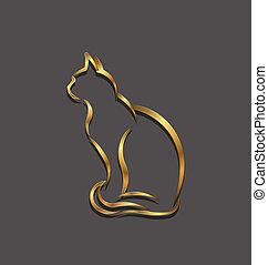 oro, immagine, gatto, logotipo, linea, 3d