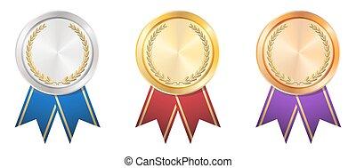 oro, insignia, plata, bronce