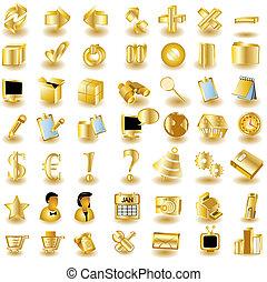 oro, interfaz, iconos, 1