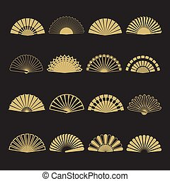 oro, isolato, icons., mano, vettore, ventilatore, fondo, nero
