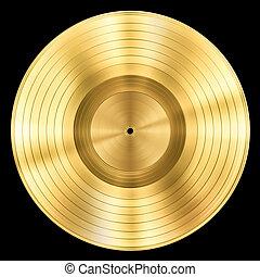 oro, isolato, premio, disco, disco, musica, nero