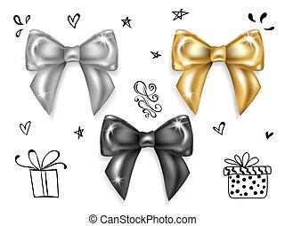 oro, knots., set-, archi, lusso, nero, argento