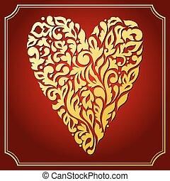 oro, laccio, ornamentale, heart., cartolina auguri