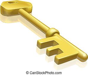 oro, latón, ilustración, llave, o
