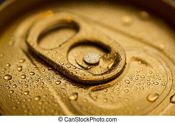 oro, lata, con, condensación