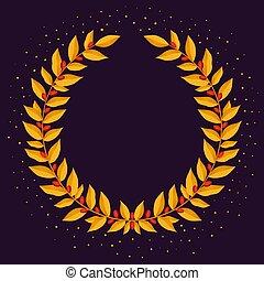 oro, laurel, wreath., vendimia, coronas, heráldico, diseñe elementos, con, floral, marcos, compuesto, de, laurel, ramas, en, oscuridad, fondo., símbolo, de, ganador, o, valor, y, mind.