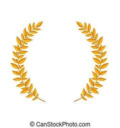 oro, laurel, wreath., vendimia, coronas, heráldico, diseñe elementos, con, floral, marcos, compuesto, de, laurel, ramas, blanco, fondo., símbolo, de, ganador, o, valor, y, mind.