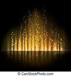 oro, light., aurora, fondos, vector, resumen