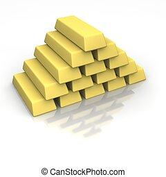 oro, lingotes, pila
