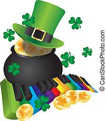 oro, llaves, olla, leprechaun, piano, sombrero
