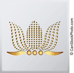 oro, loto, ditta, logotipo