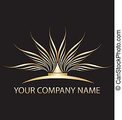 oro, loto, logotipo, lei, ditta