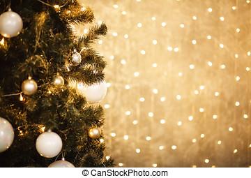 oro, luces de árbol, 2018, plano de fondo, de-focused, adornado, navidad