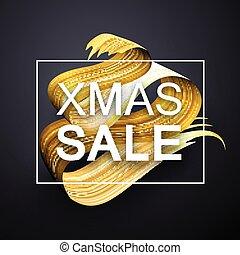 oro, manifesto, astratto, vendita, natale, spazzola, ...