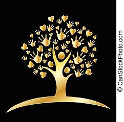 oro, manos, árbol, plano de fondo, corazones, logotipo