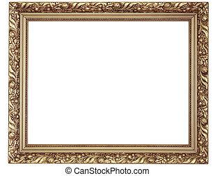 oro, marco, fondo blanco